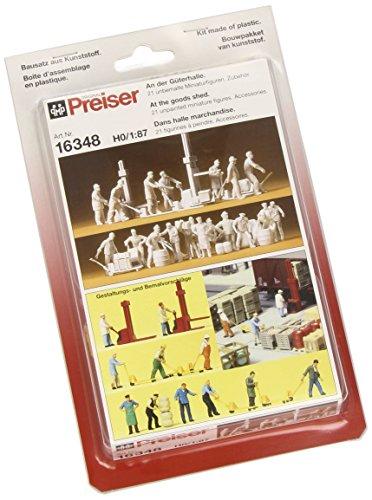 Preiser 16348 Unpainted Figure Set Package(21) Railroad Freight House Workers HO Model -