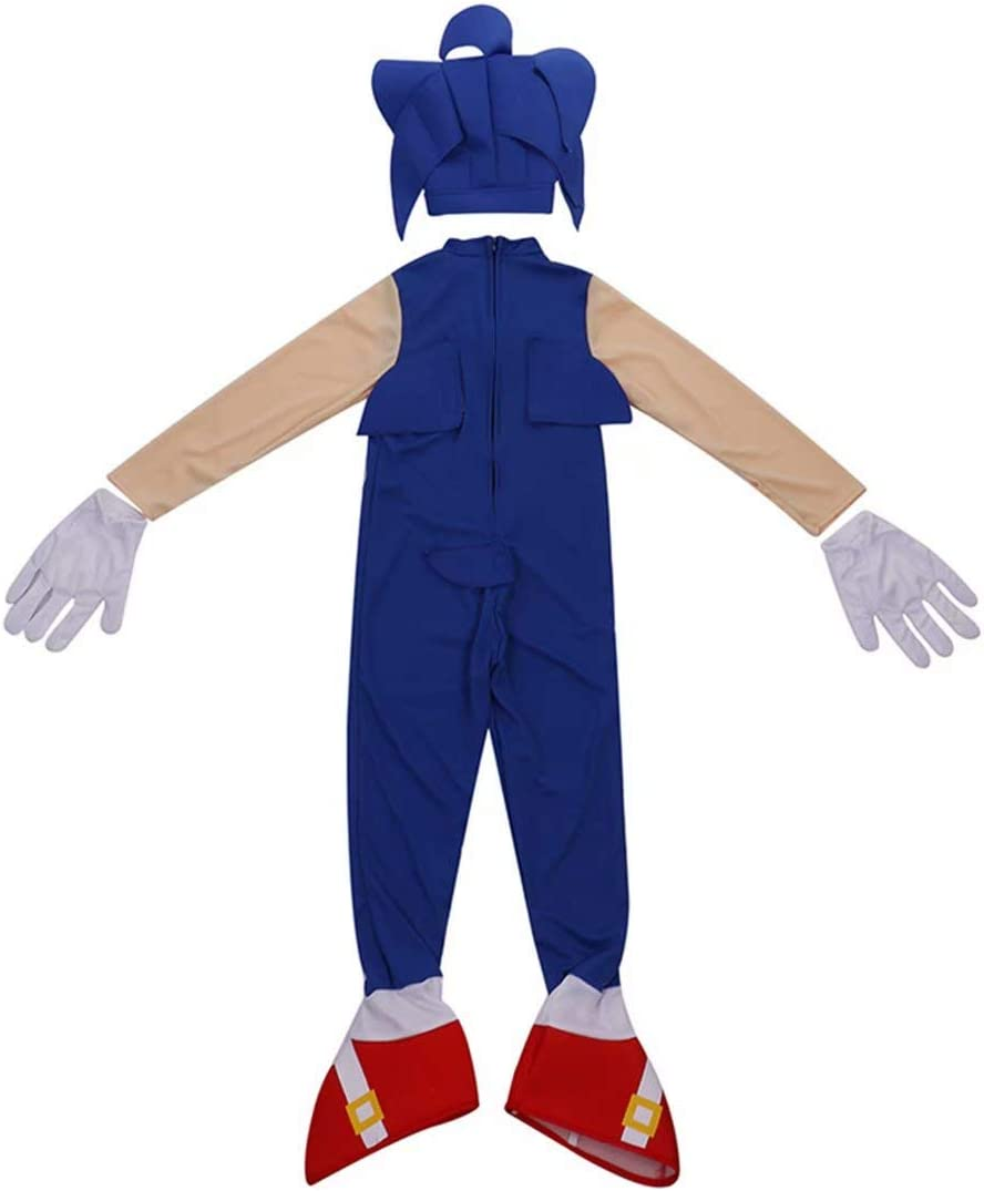 Overall Cosplay Bodysuit Outfits Costume Props Boys Girls Sonic The Hedgehog Jumpsuit Romper with Headpiece Gloves