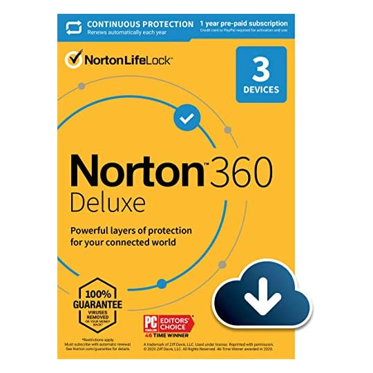 Norton 360 Deluxe 2021 – Antivirus software for 3 Devices with Auto Renewal – Includes VPN, PC Cloud Backup & Dark Web…