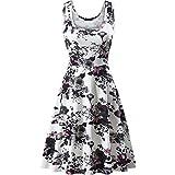 Women's Summer Floral Print O-Neck Sleeveless Mini Dress Casual Cute Club Evening Party Tank Dresses Beach Sundress White