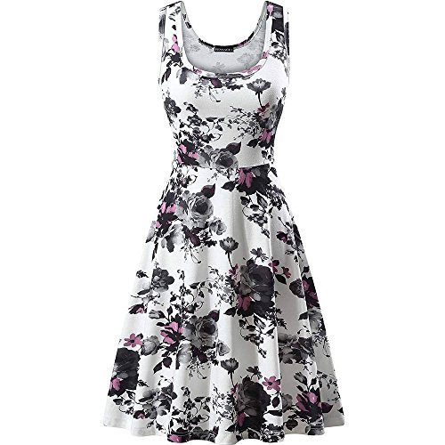 Women Floral Tank Dresses,Teen Girls Sleeveless Swing Boho Short Dresses Ladies Summer Beach Dresses Mini Dresses White