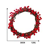 Home Decor,Home Decorations for Living Room 30/35/40cm Red Berries Christmas Wreath Red Wreath Hanging Christmas Decoration