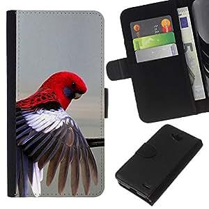 KLONGSHOP // Tirón de la caja Cartera de cuero con ranuras para tarjetas - loro rojo en colores pastel gris plumas de aves tropicales - LG OPTIMUS L90 //