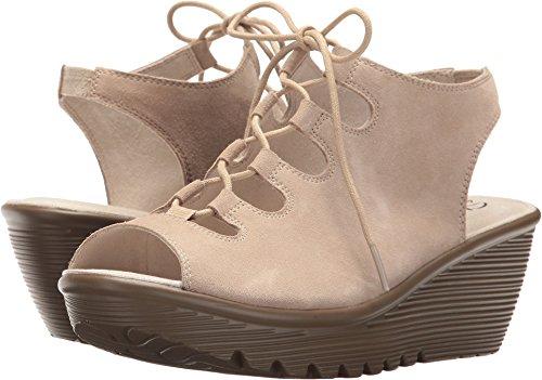 Skechers Women's Parallel Peep Toe Ghillie Slingback Wedge Sandal, Natural, 8 M US
