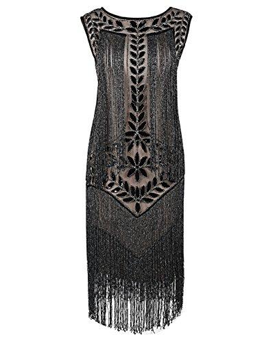 Robe Femmes De Flapper Gatsby Kayamiya Robe Frange Charleston Gold Paillette 1920s S605x5qw