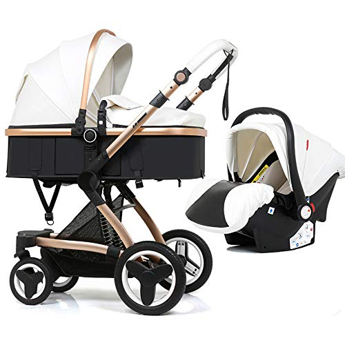 Luxury pram PU Leather Baby Stroller 3 in 1 and car seat Combo? Newborn bassinets 2-1 Infant Travel System Pushchair high Landscape Reversible 3-1 Strollers (White-PU-3 in 1)