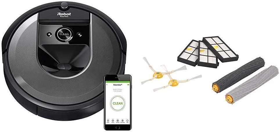 iRobot Roomba i7 (7150) Robot Vacuum and Roomba 800 and 900 Series Replenishment Kit (3 AeroForce Filters, 2 Spinning Side Brushes, and 1 Set of Multi-Surface Rubber Brushes)