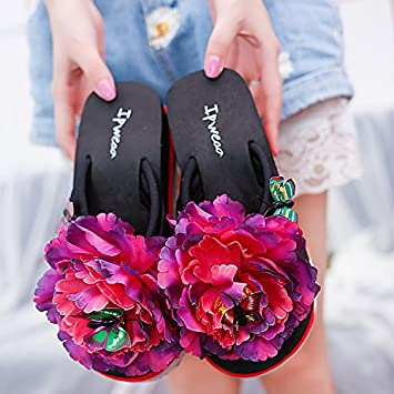LGK&FA Rutschfeste Weichen Boden Blume Hausschuhe Sommer Damen Coole Hausschuhe Modische Schuhe Strand Flip Flops Und Dicken Unteren Outdoor 38 Rose Rot MvB0gCin