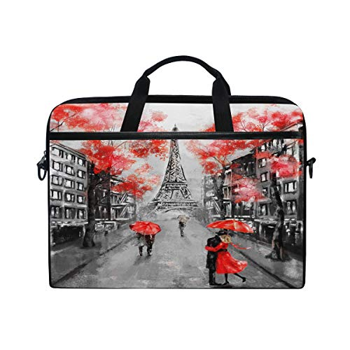 WXLIFE Paris Vintage Eiffel Tower 13 13.3 14 Inch Laptop Shoulder Messenger Bag Case Sleeve Briefcase with Handle Strap for Men Women Boys Girls