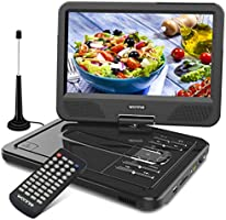 WONNIE ポータブルDVDプレーヤー 10.5インチ 地デジ フルセグ ワンセグ tvチューナー アンテナ CDプレーヤー リージョンフリー 車載 USB/SD/AV対応 CPRM機能 メーカー3年保証