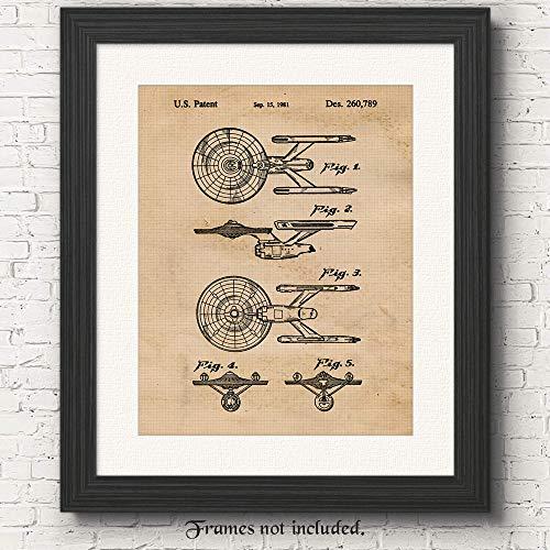 Original Star Trek Patent Art Poster Prints - 11x14 Unframed - Great Wall Art Decor Gifts Under $15 for Trekkies, Man Cave, Garage, Boy's Room, Office -