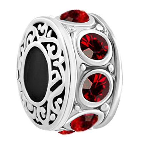 Red Charm Plated - JewelryHouse Silver Plated Birthday Filigree Charms for Bracelet And Necklace (Red)