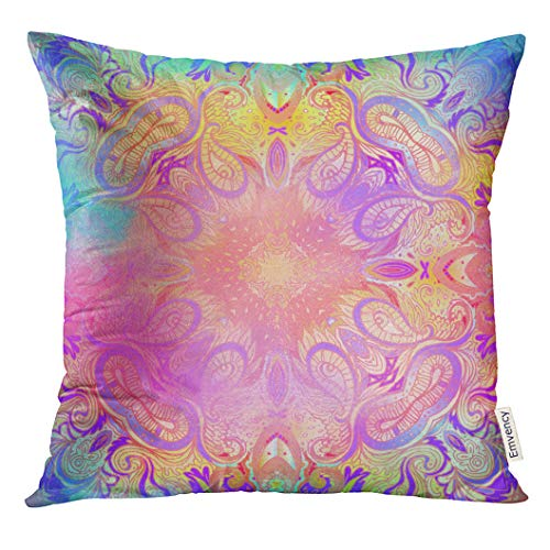 Emvency Throw Pillow Cover Kaleidoscopic Mandala Inspired Beautiful Vintage Psychedelic Neon Composition Indian Buddhism Spiritual Decorative Pillow Case Home Decor Square 20x20 Inches Pillowcase