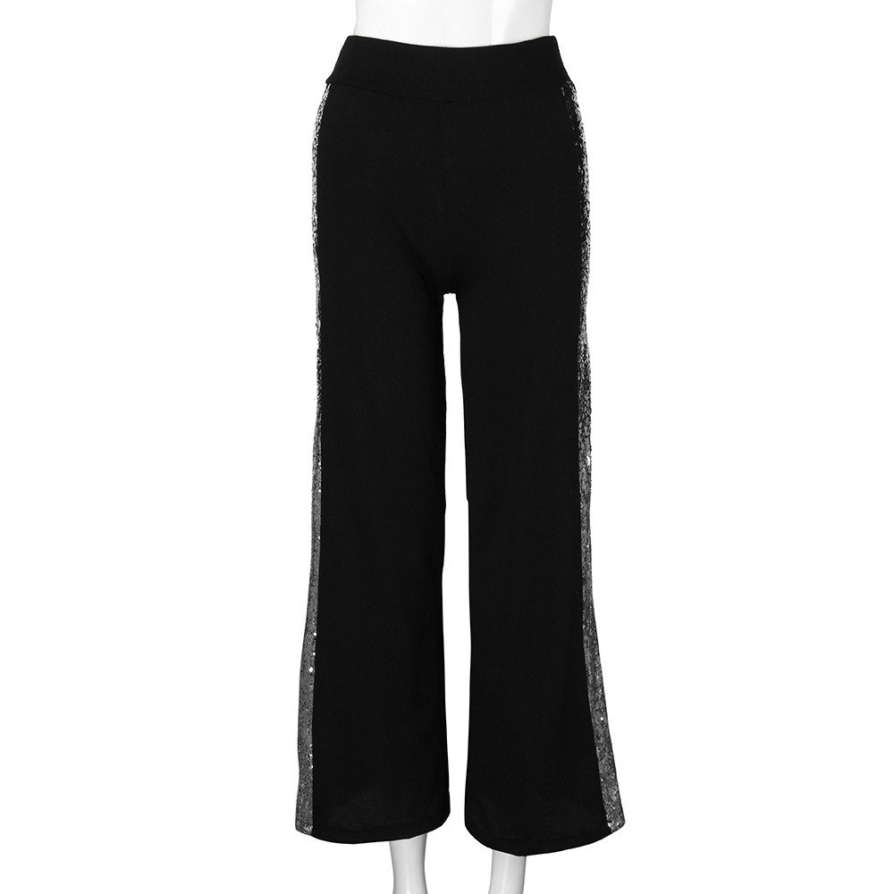 Clearance Sale! Women Pants,Farjing Fashion Womens Casual Wide Leg Pants Gradient Sequins Insert Maxi Trousers(S,Black)