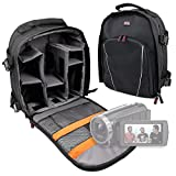 DURAGADGET Premium Quality, Black Water-Resistant Backpack with Customizable Interior & Raincover for NEW Sony FDR-AX53 4K Handycam