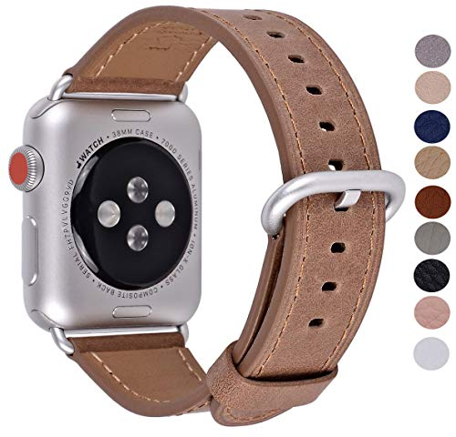 PEAK ZHANG Compatible with Apple Watch Band 38mm/40mm 42mm/44mm Women Men Top Grain Leather Replacement Strap for iWatch Series 4,3,2,1,Sport,Edition(Caramel/Silver Aluminum,38mm 40mm S/M)