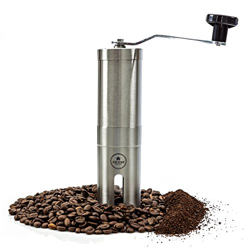 EZE Hand Burr Coffee Grinder Most Consistent Hand Press, Ceramic Burr Manual Coffee Grinder Fits in Aeropress