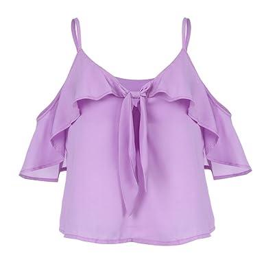 7f0481ab1bf Amazon.com: Women Cute T-Shirt,Fashion Sexy Ruffles Bow Bandage ...