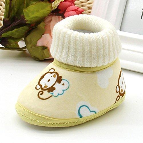 Babyschuhe Longra neugeborenes Baby Affe Druck Stiefel weichen Sohle Schnee Prewalker warme Lauflernschuhe Krippeschuhe( 0-18Monate) Yellow