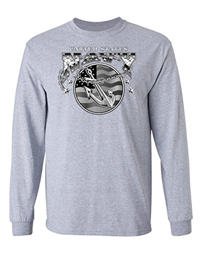 Anchor Long Sleeve T-shirt (Lucky Ride US Navy Mens Shirt Bald Eagle Anchor Naval Shield Long sleeve, Grey, L)