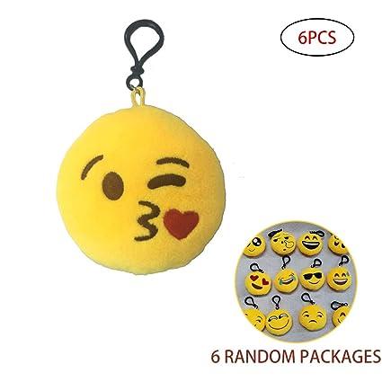 6pcs mini Emoji felpa Emoticon Llavero bolsa colgando ...