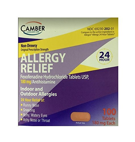 Fexofenadine Hydrochloride, Compared to Allegra, 180mg, 100 ct (Pack of 1) by Camber Consumer Care by Camber Consumer Care