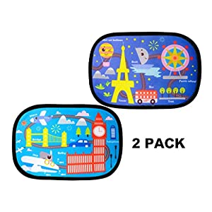 Car Sun Shade (2 Pack) - adorable cartoon design sunshade by R'UXO - Protect your kids in the back seat from sun glare and heat. Blocks over 97% of harmful UV Rays - Easy to Install