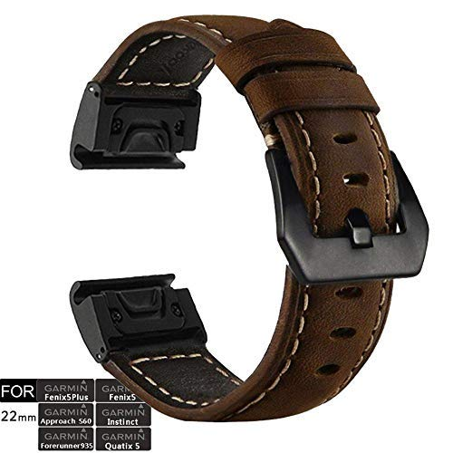 YOOSIDE Fenix 5 Watch Band, 22mm Stainless Steel Metal Quick Fit with Genuine Leather Watch Band Strap for Garmin Fenix 5/Fenix 5 Plus/Forerunner 935/Instinct/Quatix 5(NOT for Fenix 5X/5S),Coffee