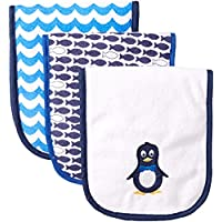 Luvable Friends 3 Piece Burp Cloth with Fiber Filling, Penguin