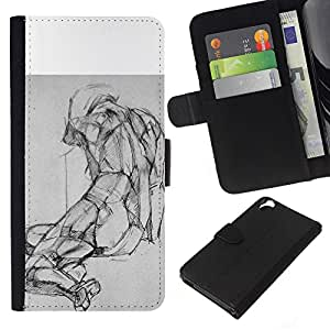 KingStore / Leather Etui en cuir / HTC Desire 820 / Dessin au crayon image corporelle