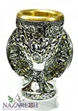 Silver Plated 925 Chalice Jerusalem Cross & Town with Plate Goblet Holy Land