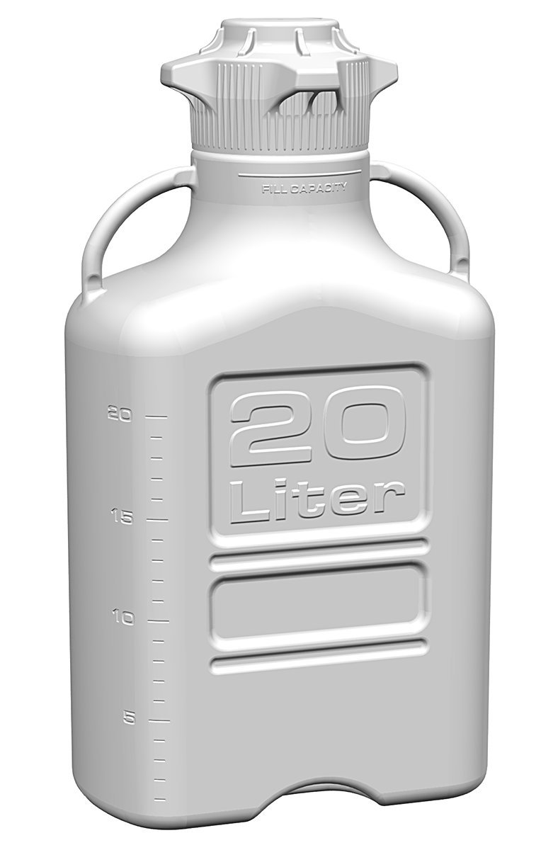 EZgrip 20L (5 Gal) HDPE Space Saving Carboy with Wide Mouth 120mm VersaCap and 26.5L Max Capacity