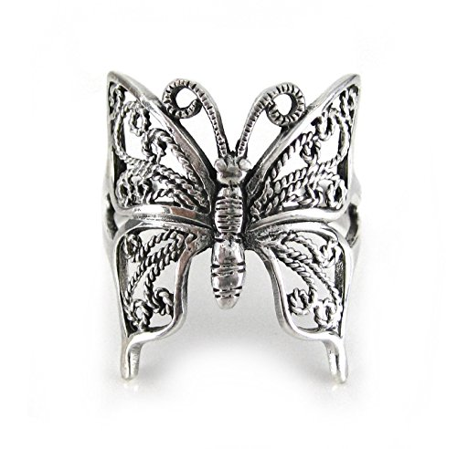 - Sterling Silver Filigree Butterfly Ring, Size 9