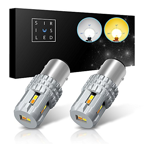 SiriusLED Ultra Compact Extremely Bright 2835 Chip Full Aluminum Dual Color White Yellow Switchback LED Fog DRL Turn Signal Tail Light Bulb Size 1157 2057 Pack of 2
