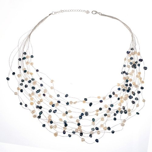 Silk Thread and Black White Cultured Freshwater Pearl Multi Strand Cluster Necklace, 17-19 inches