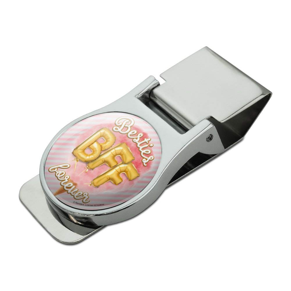 Besties BFF Forever Ice Cream Balloons Cone Pink Stripes Satin Chrome Plated Metal Money Clip