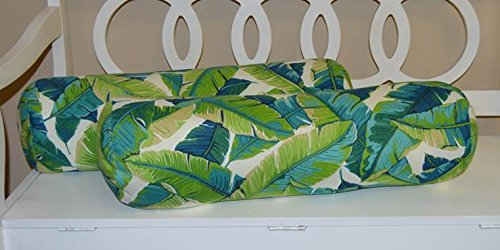 Palm Bolster Pillow - Set of 2 - Indoor / Outdoor Jumbo, Large, Over–sized, Bolster / Neckroll / Lumbar Chaise Lounge Decorative Pillows - Blue and Green Tropical Palm Leaf Floral Print