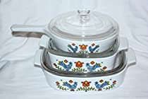 Vintage Corning Ware Country Festival Glass Covered Casseroles and 6 1/2 Inch Saucepan Set