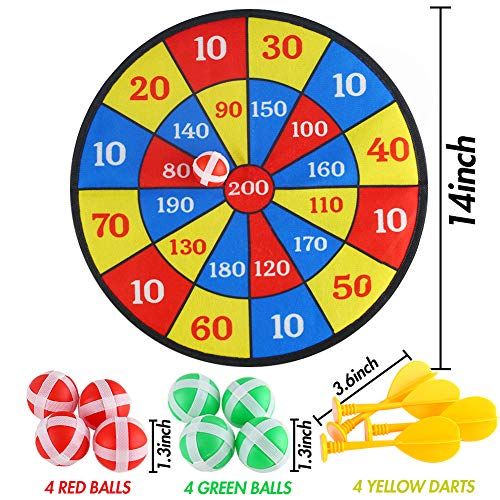 LovesTown Kids Dart Board Set, 14inches Dart Board with Hook 8 Sticky Balls and 4 Darts Safe Dart Game Dart Board for Kids Birthday Gift Party Game