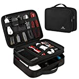 Electronics : Matein Electronics Travel Organizer, Watreproof Electronic Accessories Case Portable Double Layer Cable Storage Bag for Cord, Charger, Flash Drive, Phone, Ipad Mini, SD Card, Gifts for Him, Black