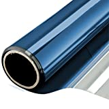 One Way Window Film Daytime Privacy Static Cling Self Adhesive House Film Glass Window Tint Heat Control Mirror Film Blue & Silver 6 Mil 23.6 Inch x 32.8 Feet