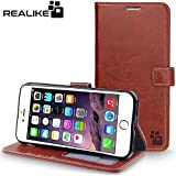 iPhone 7 Cover, REALIKE {Imported} Premium Leather Wallet Flip Case For iPhone 7 Cover (Royal Series - Brown)