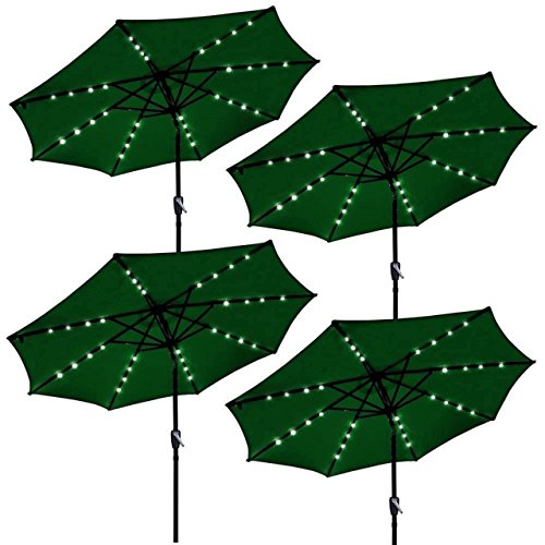 9ft Outdoor Patio Solar Power LED Aluminium Umbrella Sunshade UV Blocking Hand-Crank Tilt - Set of 4 Green - In Mall Gainesville
