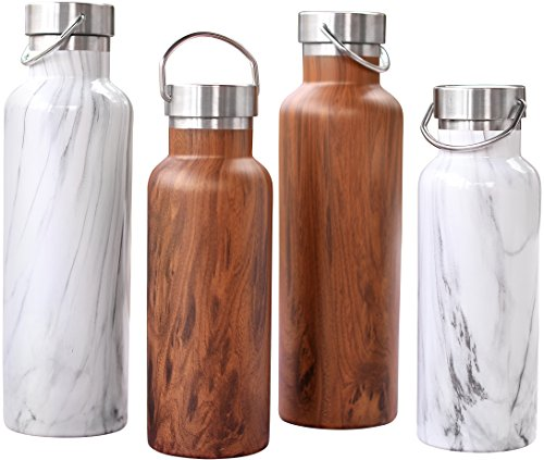 Stainless Steel Insulated Water Bottle - Wide Mouth Thermos Water Bottle Lets You Easily Add Ice or Fruit - New Double Walled Vacuum Bottles Designed to be Leak Proof To Keep Drinks Ice Cold