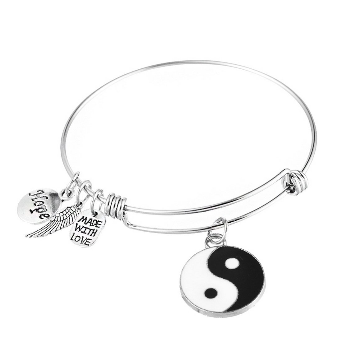 MJartoria Silver Color Buddha Expandable Wire Bangle Charm Bracelet (Yin yang)