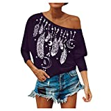 Fshinging Women Blouse Cold Shoulder Batwing Sleeve Pullover Tops Oversize Sweatshirt Teen Girls Shirts[Purple,XXL]