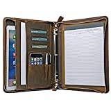 Rustic Leather Laptop Portfolio Padfolio with 3-Ring Binder for Letter A4 Paper, 13-inch MacBook Air/Surface Book
