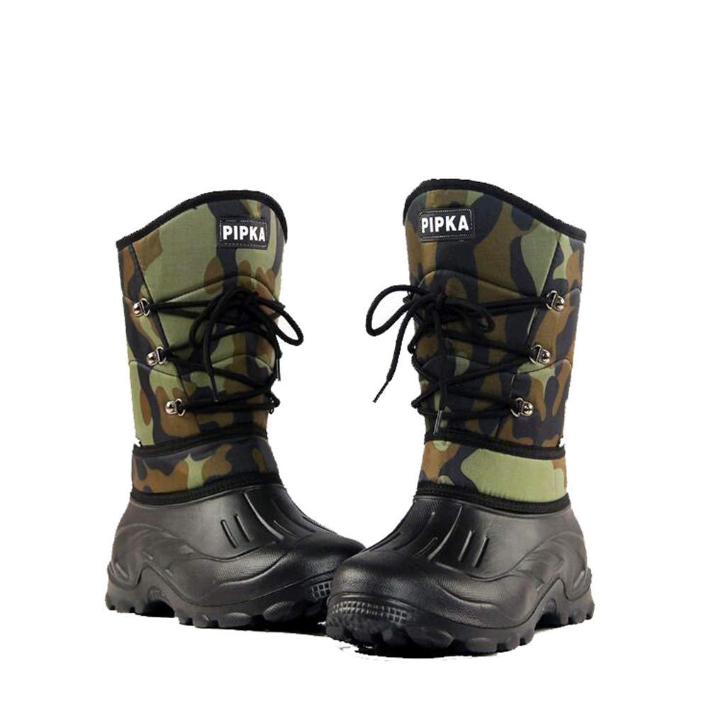 Hy Herrenschuhe, Winter Plus Samt hohe Stiefel, warme Winddichte Wasserdichte Schnee Stiefel Stiefel Slip-Ons Angeln Schuhe Skischuhe (Farbe : Grün Camouflage, Größe : 44)