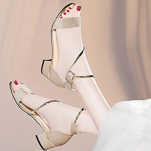 Talon Bal Gold Bride Ouvert Bloc À Chaussures La Mariage Orteil Mi Femmes Parti Hope Cheville Sandales Dames bas FpRIZwUq