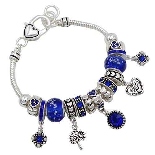 Rosemarie Collections Women's Birth Month Birthstone Glass Bead Charm Bracelet (September) -